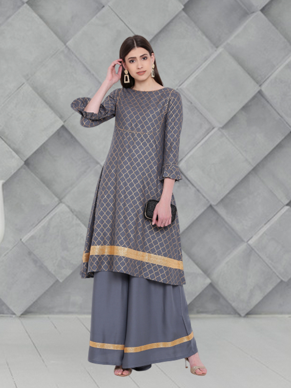 Grey Palazzo Suit for office outfits